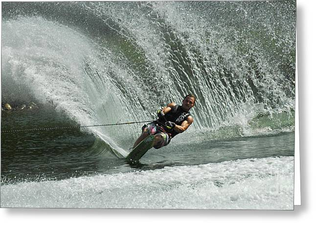 Slalom Skiing Greeting Cards - Water Skiing Magic of Water 27 Greeting Card by Bob Christopher