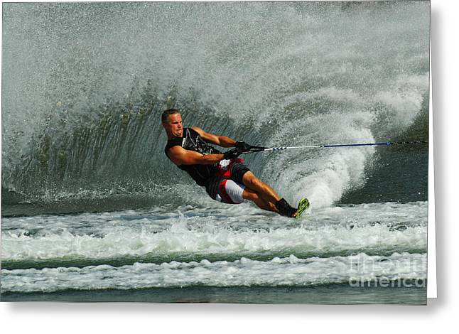 Slalom Skiing Greeting Cards - Water Skiing Magic of Water 29 Greeting Card by Bob Christopher