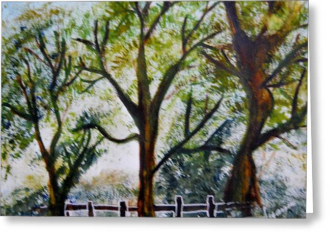 Nyc Posters Paintings Greeting Cards - Watercolor Trees Greeting Card by Suzanne Thomas