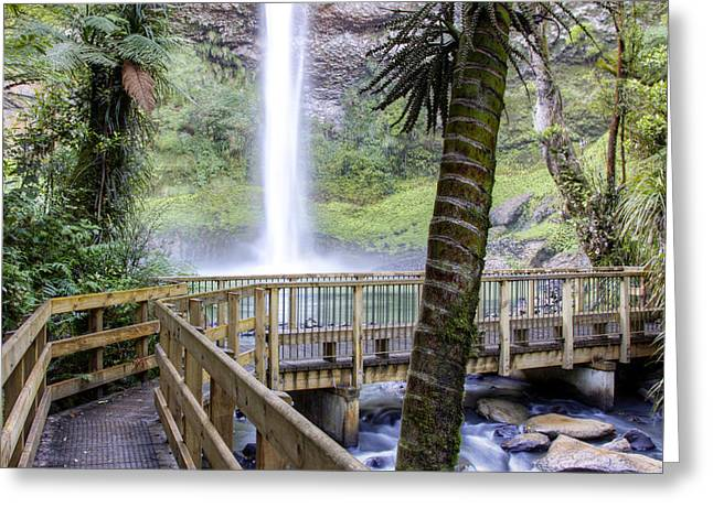 Boardwalk Greeting Cards - Waterfall Greeting Card by Les Cunliffe