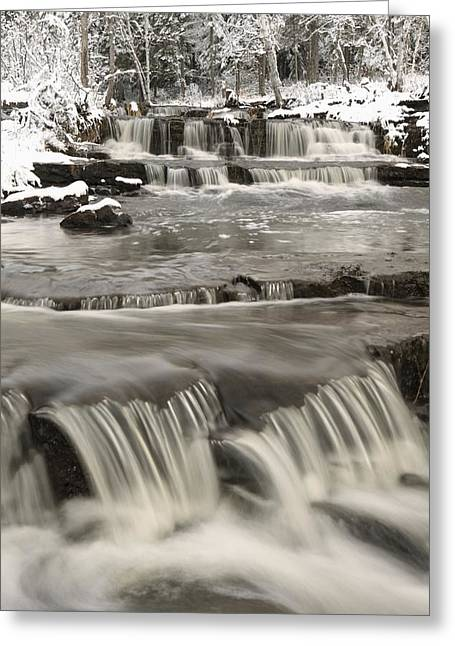 Design Pics - Greeting Cards - Waterfalls With Fresh Snow Thunder Bay Greeting Card by Susan Dykstra