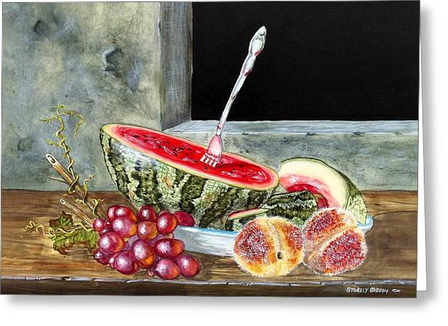 Watermelon Greeting Cards - Watermelon Peaches and Grapes Greeting Card by Terry  Stokely