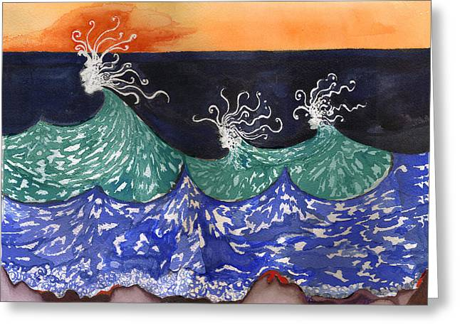 Wave Tapestries - Textiles Greeting Cards - Wave Fairies Greeting Card by Alexandra  Sanders