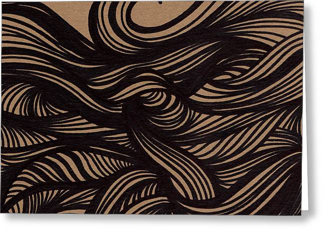 Waves Drawings Greeting Cards - Wave Greeting Card by HD Connelly