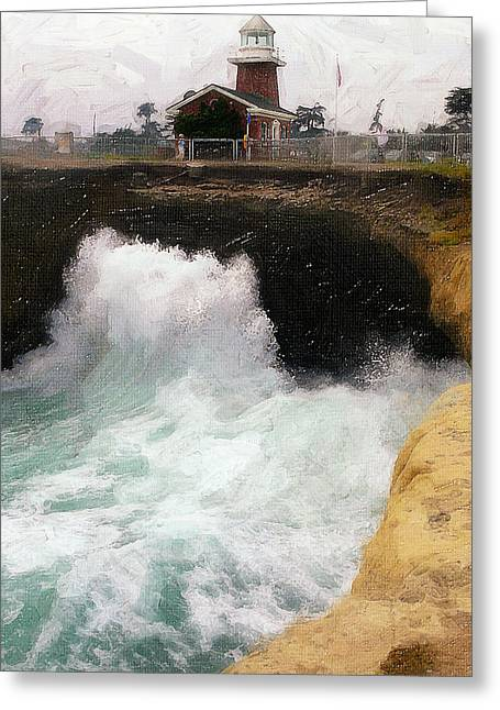 Steamer Lane Greeting Cards - Wave Power Greeting Card by Ron Regalado