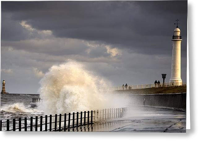 Buildings In The Harbor Greeting Cards - Waves Crashing, Sunderland, Tyne And Greeting Card by John Short