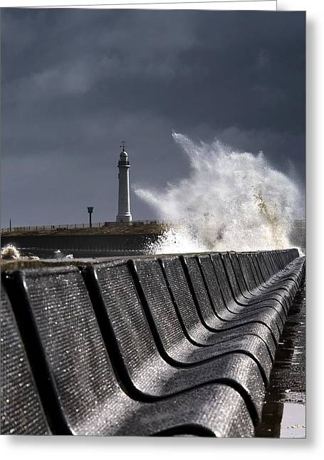 Worn In Greeting Cards - Waves Crushing Against Barrier Greeting Card by John Short