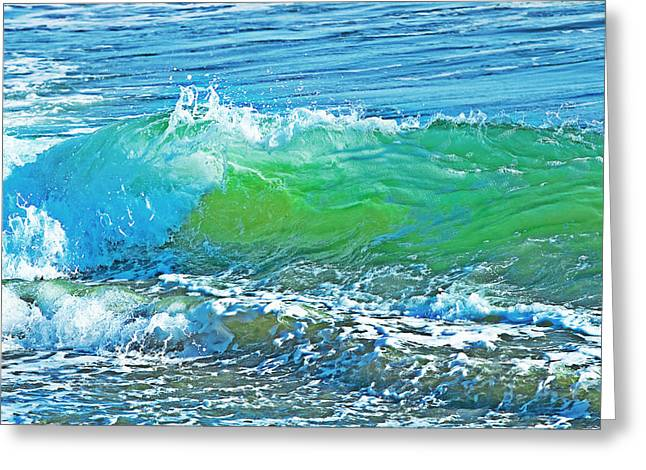 Blue Green Wave Greeting Cards - Waves Greeting Card by Naman Imagery