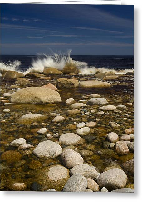 Empowerment Photographs Greeting Cards - Waves Hitting Rocks, Anchor Brook Greeting Card by John Sylvester
