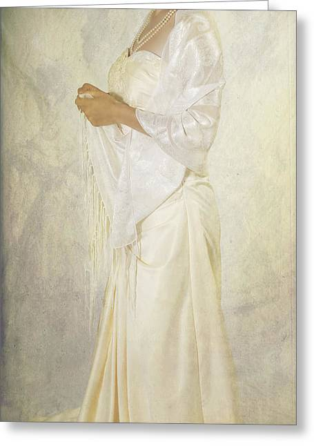 Elegant Bride Greeting Cards - Wedding Dress Greeting Card by Joana Kruse