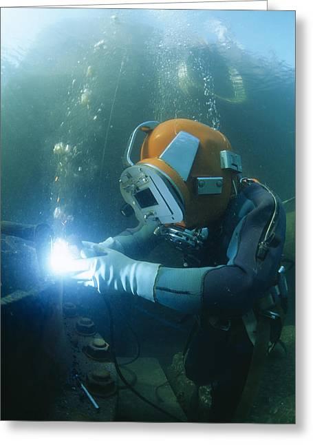 Welding Underwater Greeting Card by Alexis Rosenfeld