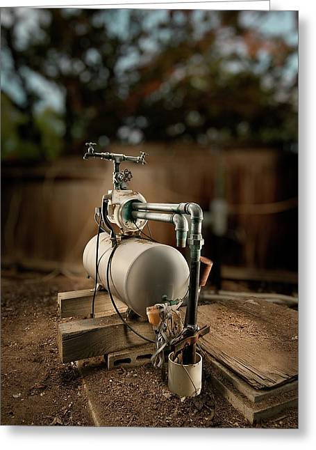 Mechanical Greeting Cards - Well Pump Greeting Card by Yo Pedro