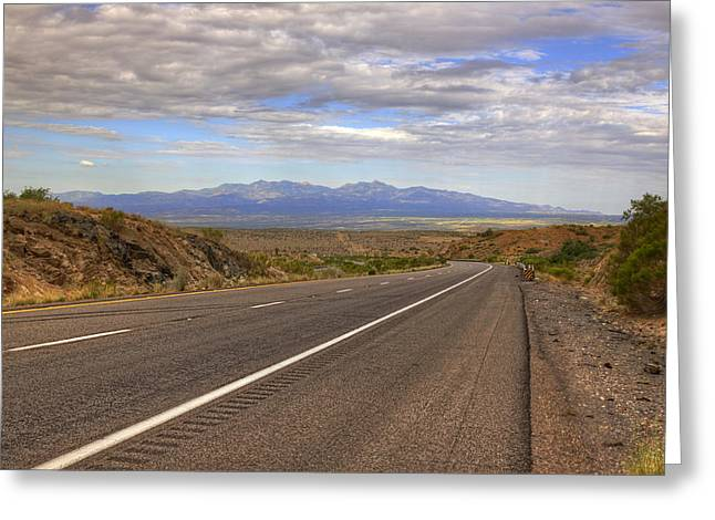 Road Travel Greeting Cards - West Into California Greeting Card by Ricky Barnard