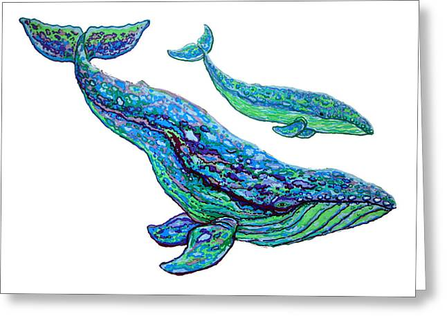 Whales Greeting Card by Nick Gustafson