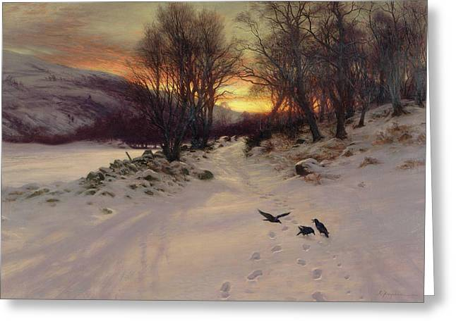 Winter Light Paintings Greeting Cards - When the West with Evening Glows Greeting Card by Joseph Farquharson