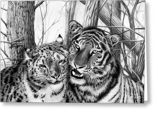 Leopard Drawings Greeting Cards - When Two Hearts Collide Greeting Card by Peter Piatt