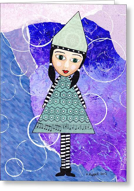 Whimsical Greeting Cards - Whimsical Green Girl Mixed Media Collage Greeting Card by Karen Pappert