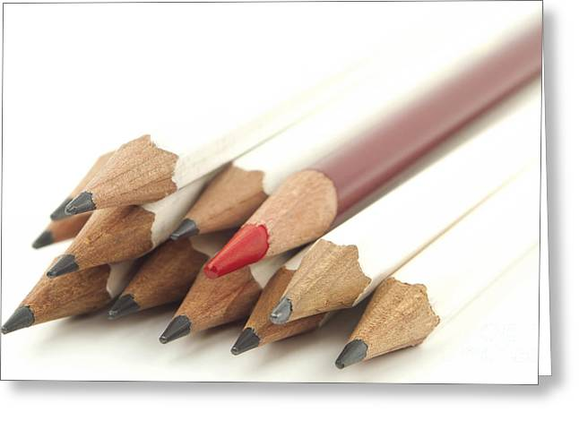 On Paper Photographs Greeting Cards - White and red pencils Greeting Card by Blink Images