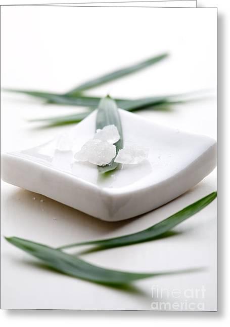 Essential Greeting Cards - White bath salt Greeting Card by Kati Molin