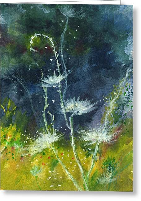 Unique View Drawings Greeting Cards - White Flowers 2 Greeting Card by Anil Nene
