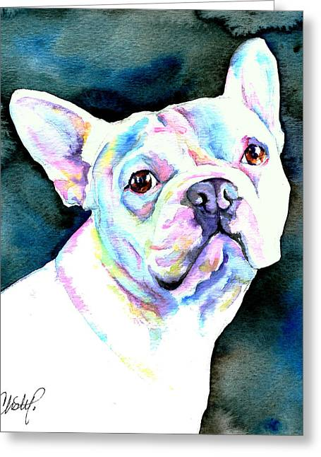 Puggle Greeting Cards - White French Bulldog Greeting Card by Christy  Freeman