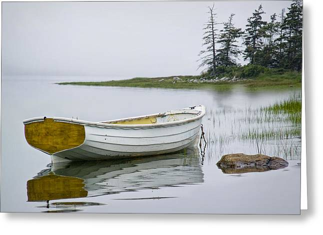 Maine Shore Greeting Cards - White Maine Boat on a Foggy Morning Greeting Card by Randall Nyhof