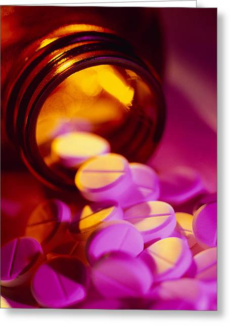 Pill Greeting Cards - White Pills Spilling Out Of Their Bottle Greeting Card by Tek Image