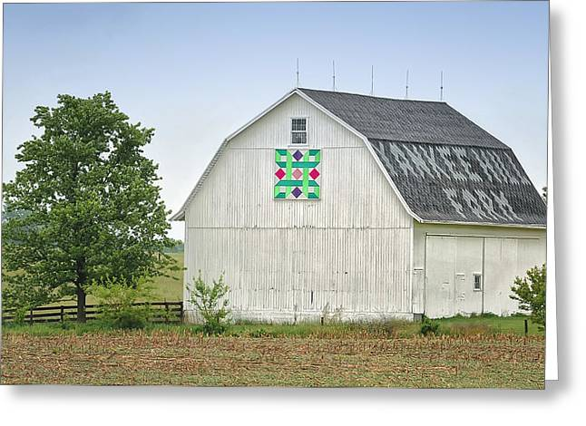 Barn Quilts Greeting Cards - White Quilt Barn Greeting Card by Brian Mollenkopf