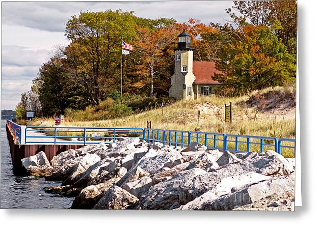 White River Greeting Cards - White River Lighthouse Greeting Card by Jack Schultz