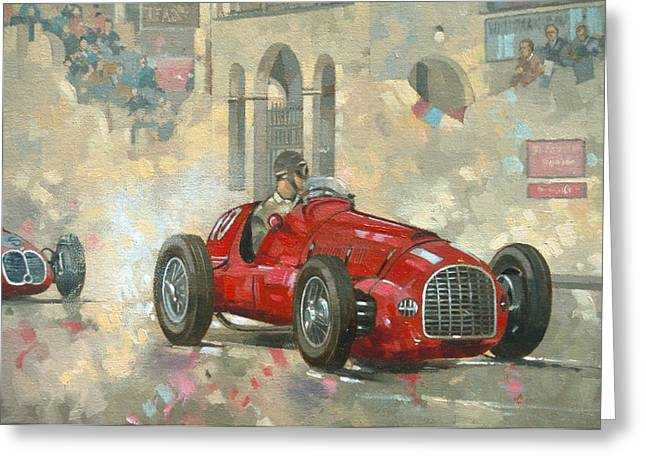 Old Car Greeting Cards - Whiteheads Ferrari passing the pavillion - Jersey Greeting Card by Peter Miller