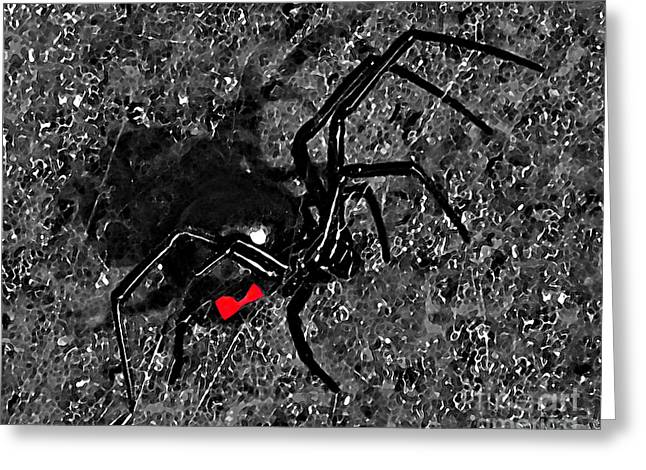 Red Hourglass Greeting Cards - Wicked Widow - Selective Color Greeting Card by Al Powell Photography USA