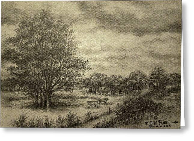 Grey Clouds Drawings Greeting Cards - Wickliffe Landscape  Greeting Card by Debi Frueh