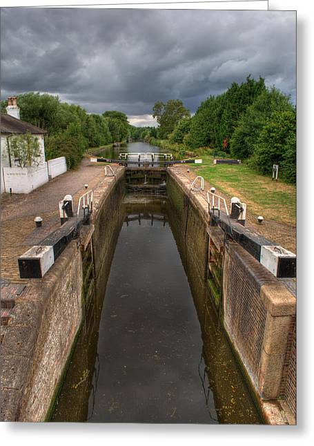 Rectangles Greeting Cards - Wide Water Lock Greeting Card by Chris Day