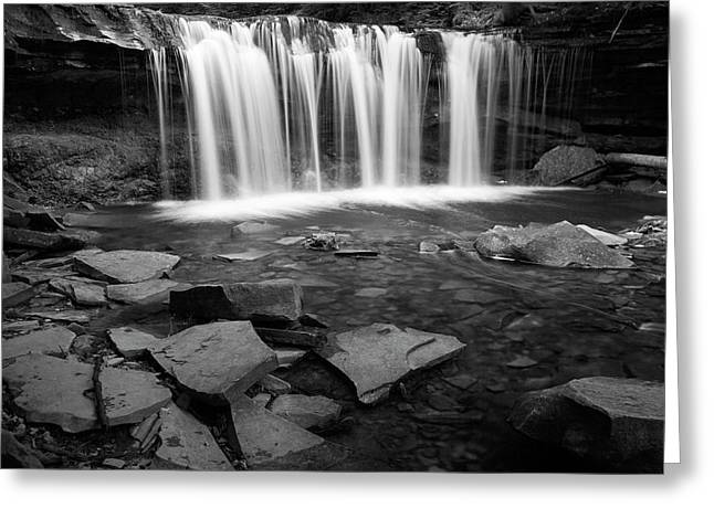 White And Black Waterfalls Greeting Cards - Wilderness Waterfall Rocky Pool Greeting Card by John Stephens