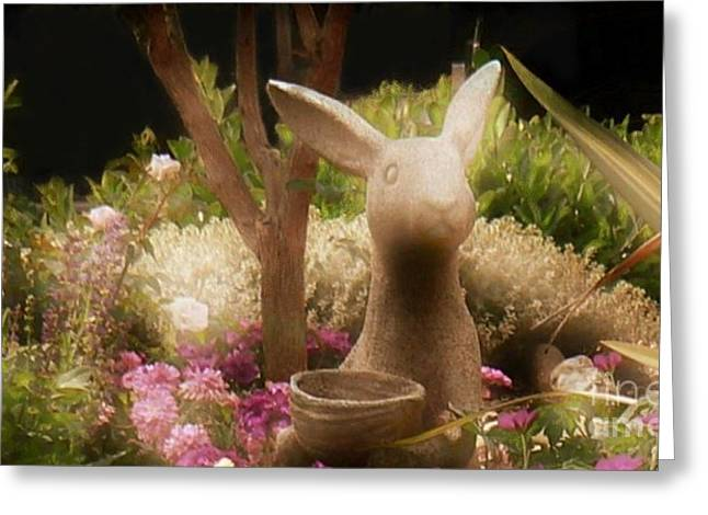 Garden Statuary Greeting Cards - Will Pick Flowers for Carrots Greeting Card by Diana Besser