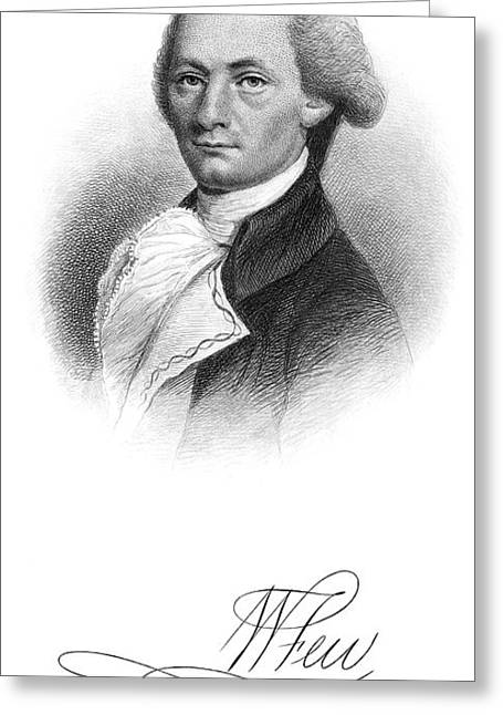Autograph Greeting Cards - William Few (1748-1828) Greeting Card by Granger