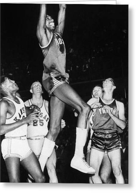 Dunk Greeting Cards - Wilt Chamberlain (1936-1999) Greeting Card by Granger