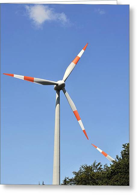 21st Greeting Cards - Wind Turbine Greeting Card by Gombert, Sigrid