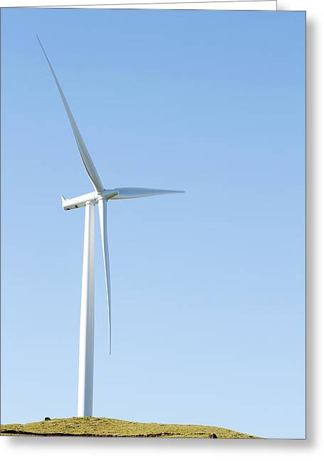 Propeller Greeting Cards - Wind turbine  Greeting Card by Les Cunliffe