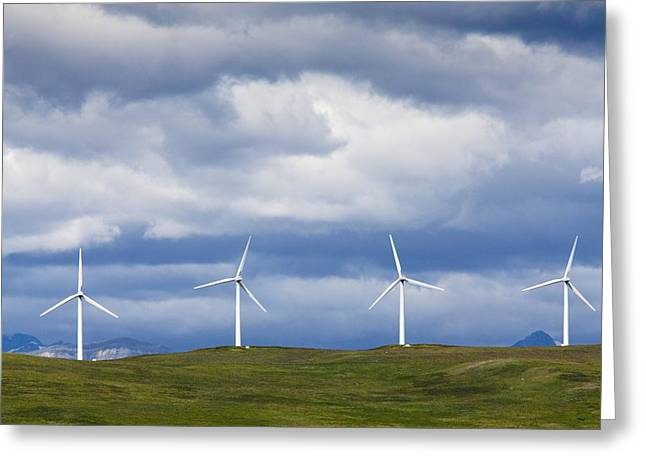 Pinchers Greeting Cards - Wind Turbines At Pincher Creek Greeting Card by Bob Gibbons