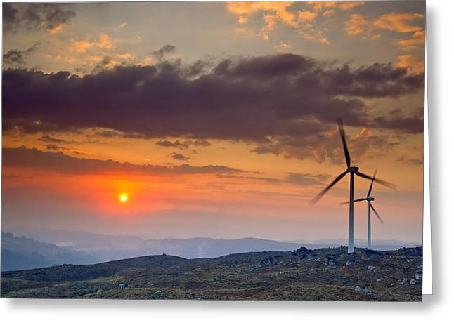 Global Greens Greeting Cards - Wind Turbines at Sunset Greeting Card by Andre Goncalves