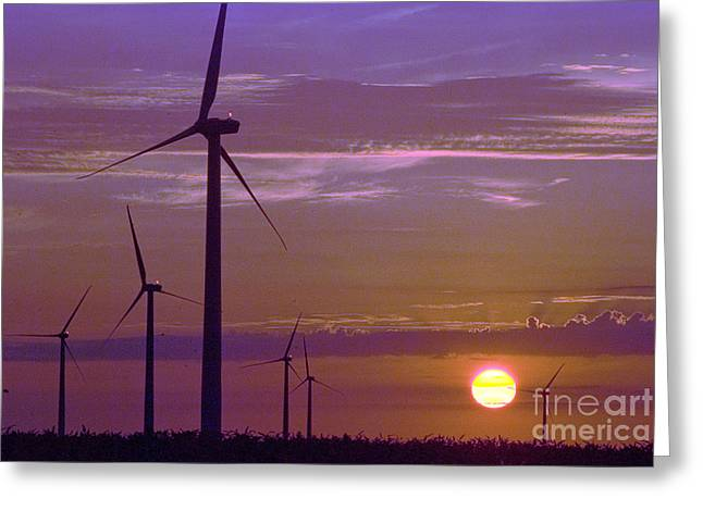 Photogaph Greeting Cards - Wind turbines at sunset Greeting Card by Jim Wright