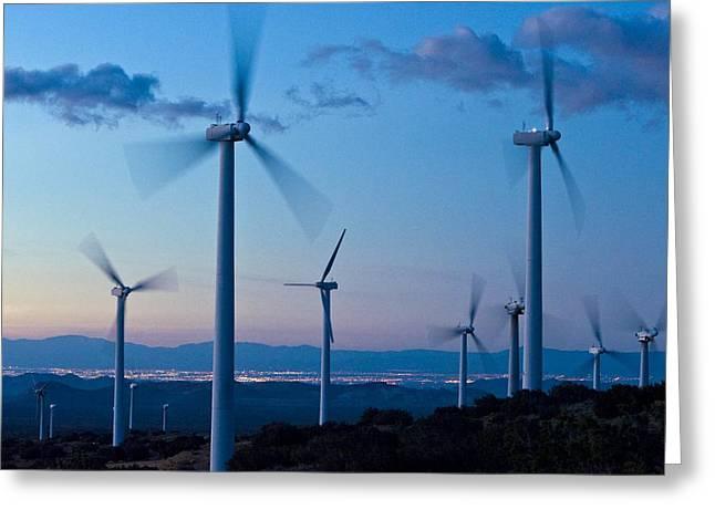 Wind Turbines Greeting Card by David Nunuk