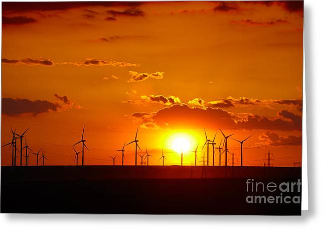 Sustainability Greeting Cards - Wind turbines Greeting Card by Gabriela Insuratelu