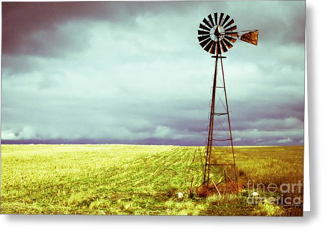 Storm Cloud Greeting Cards - Windmill Against Autumn Sky Greeting Card by Gordon Wood