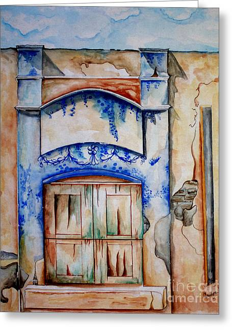 Colbalt Blue Greeting Cards - Window from Santiago Greeting Card by Kandyce Waltensperger