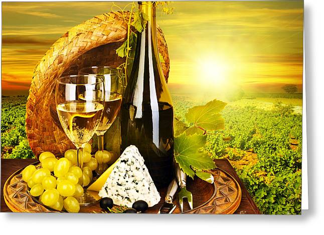 Winemaking Greeting Cards - Wine and cheese romantic dinner outdoor Greeting Card by Anna Omelchenko