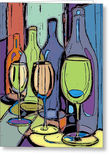 Wine Bottles And Glasses IIi Greeting Card by Peggy Wilson