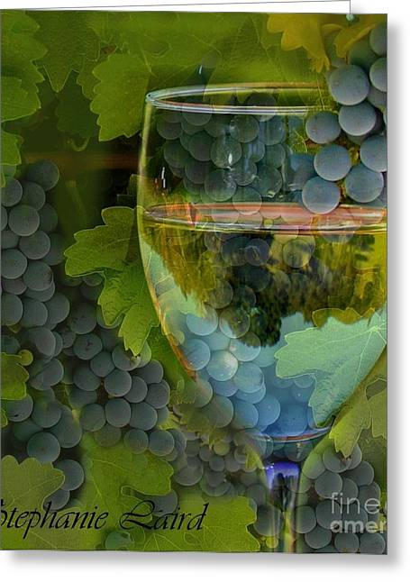 Grape Leaves Greeting Cards - Wine Glass Greeting Card by Stephanie Laird