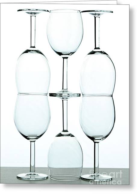 Wine Reflection Art Photographs Greeting Cards - Wine glasses Greeting Card by Blink Images